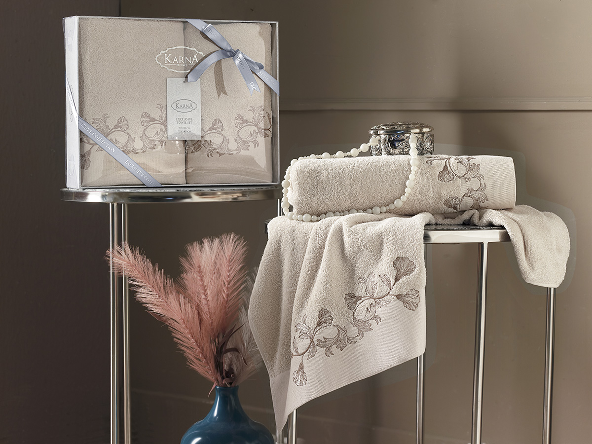Комплект махровых полотенец Karna Viera 50х90 + 70х140 бежевый