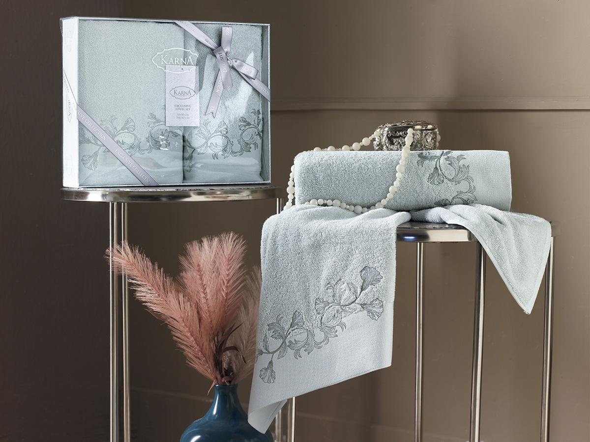 Комплект махровых полотенец Karna Viera 50х90 + 70х140 зеленый