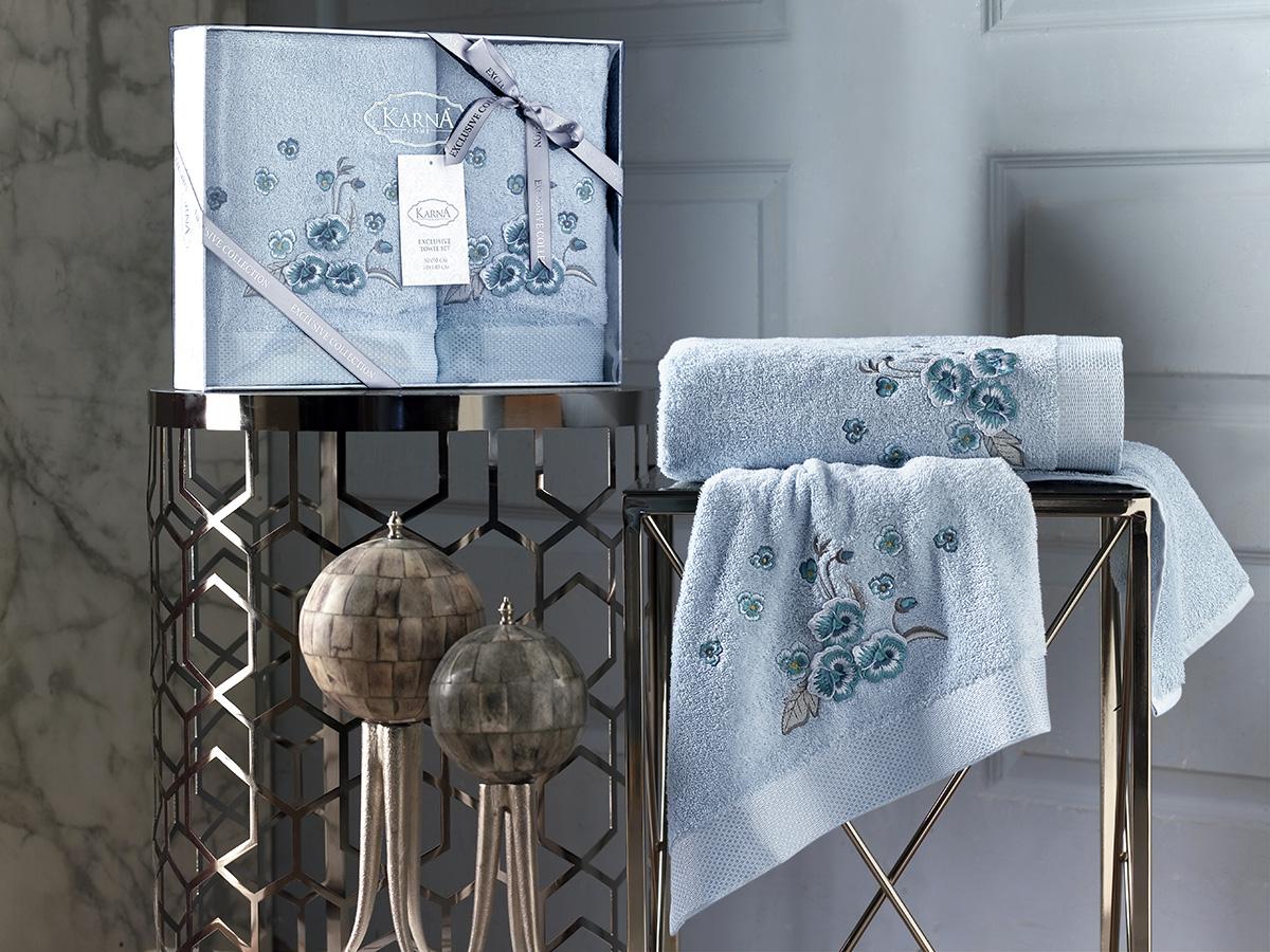 Комплект махровых полотенец Karna Malinda 50х90 + 70х140 ментол