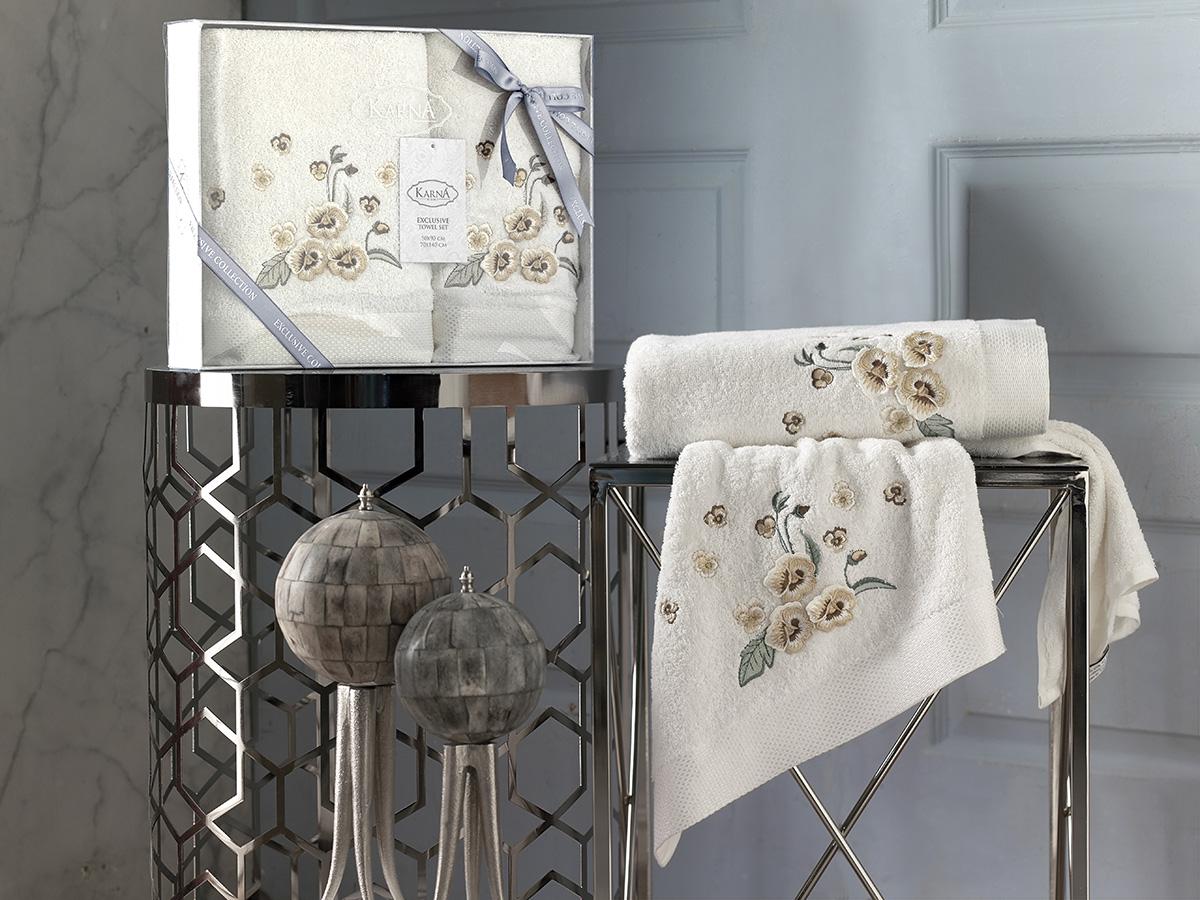 Комплект махровых полотенец Karna Malinda 50х90 + 70х140 кремовый