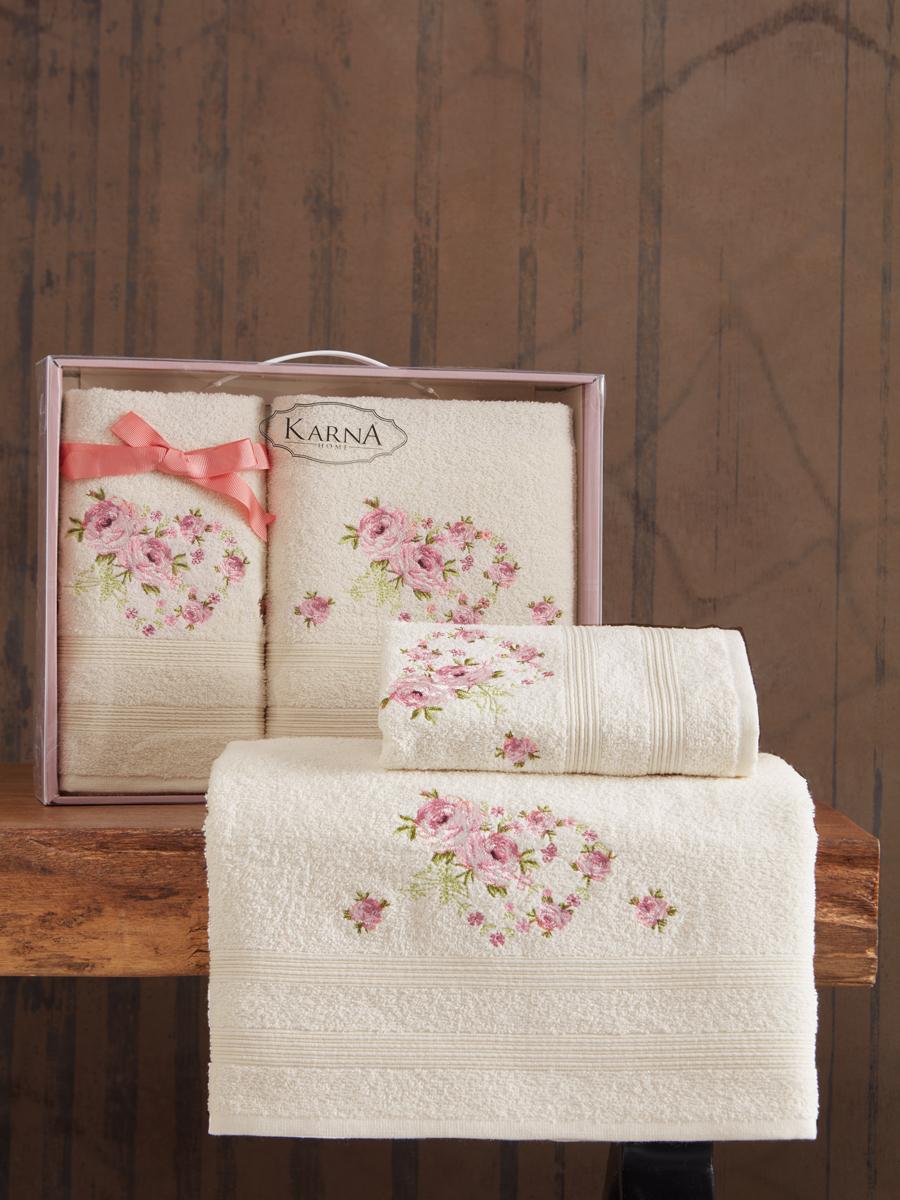 Комплект махровых полотенец Karna Malden 50х90 +70х140 кремовый