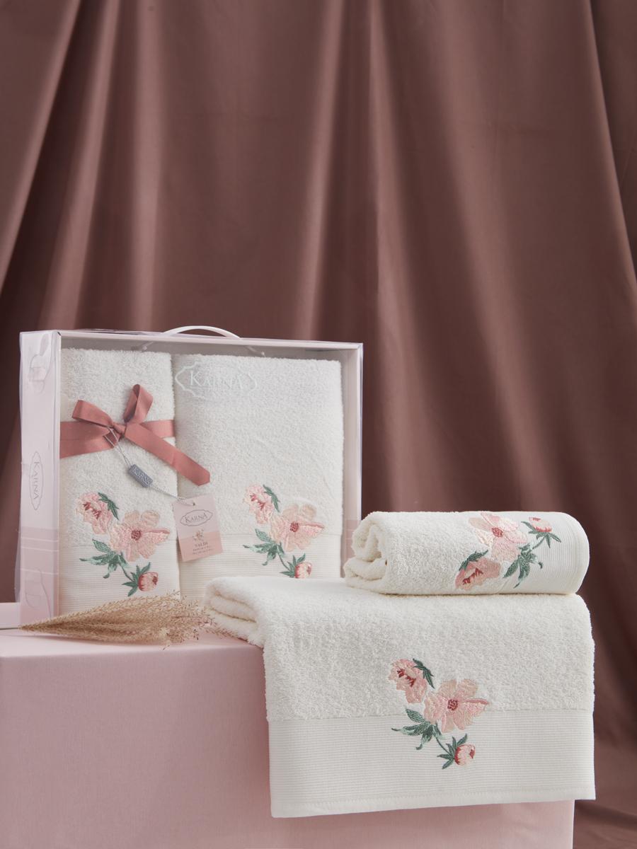 Комплект махровых полотенец Karna Valdi 50х90 +70х140 кремовый