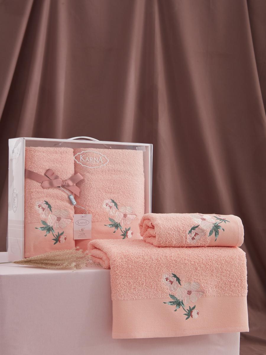 Комплект махровых полотенец Karna Valdi 50х90 +70х140 абрикосовый