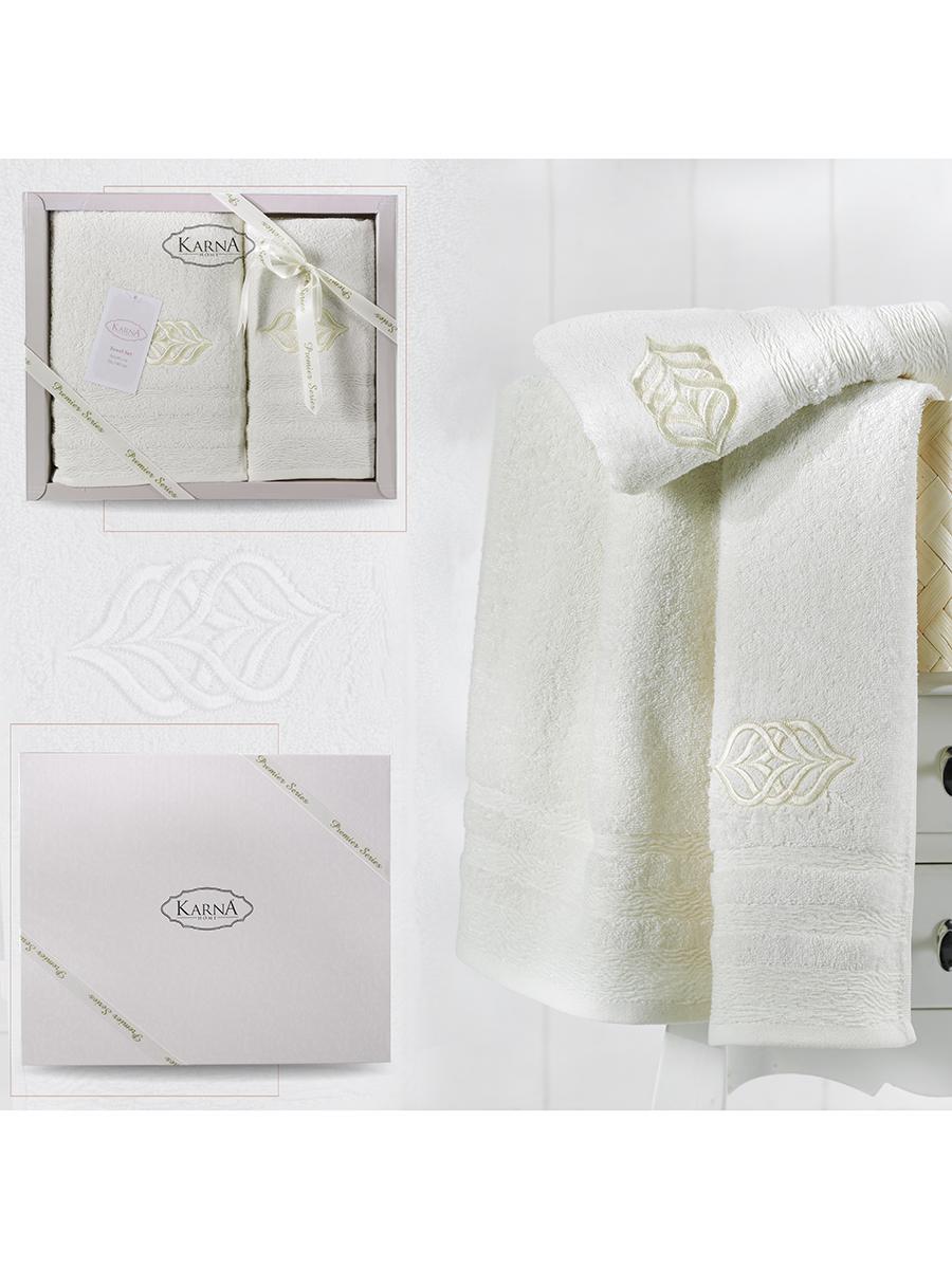 Комплект махровых полотенец Karna Derin 50х90 +70х140 кремовый