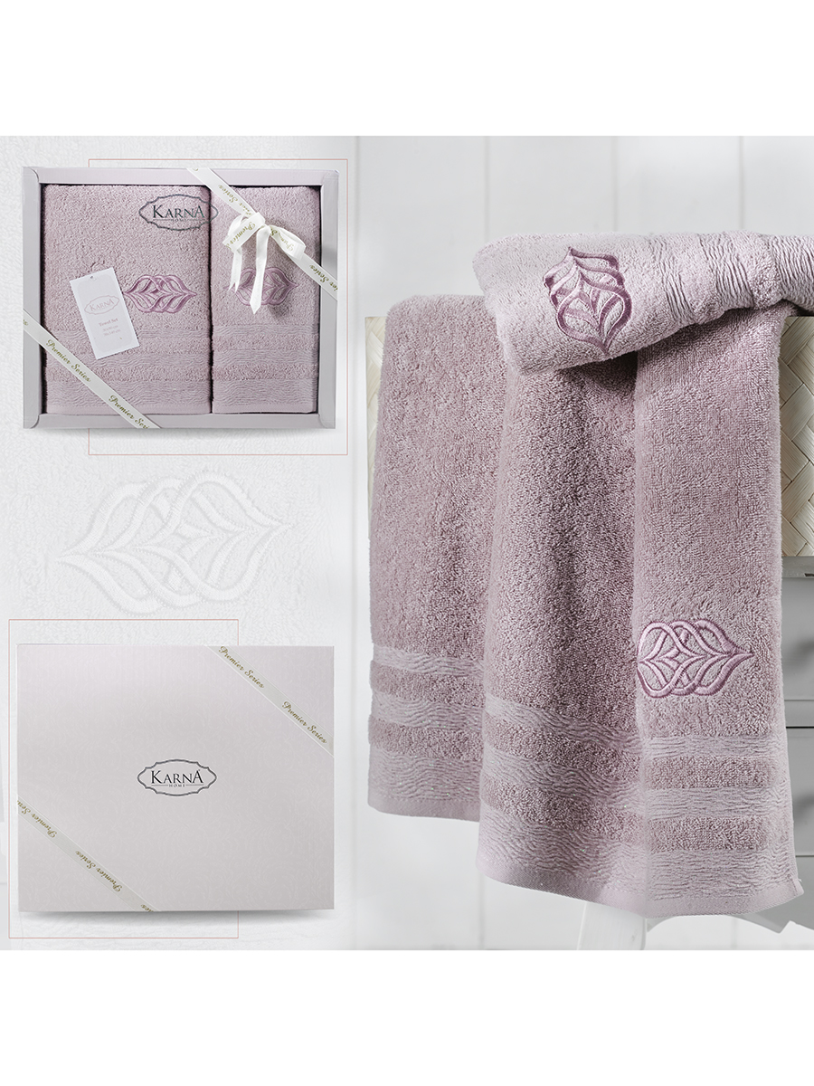 Комплект махровых полотенец Karna Derin 50х90 +70х140 светло-лаванда