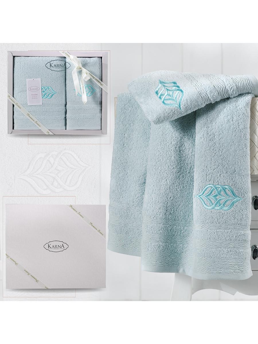 Комплект махровых полотенец Karna Derin 50х90 +70х140 ментол
