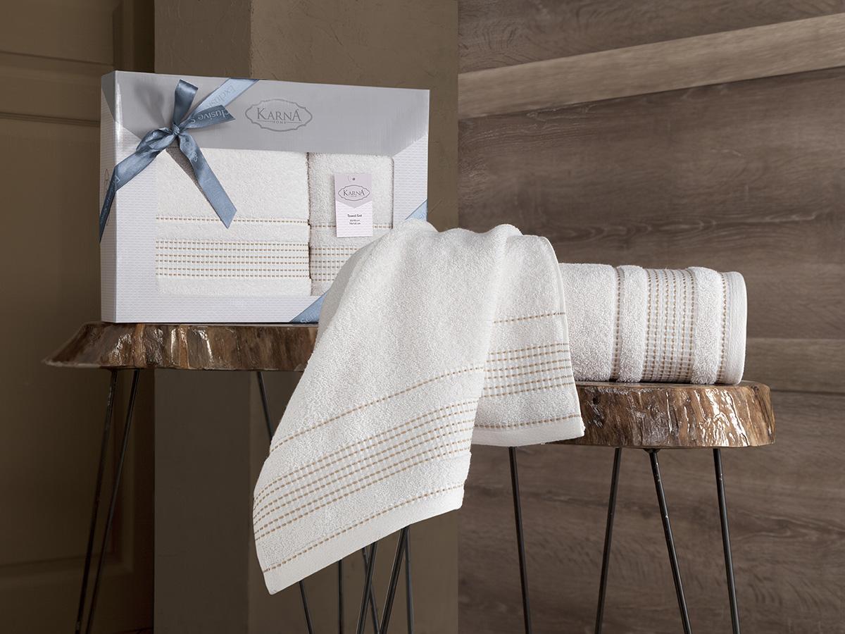 Комплект махровых полотенец Karna Ladin 50х90 + 70х140 кремовый