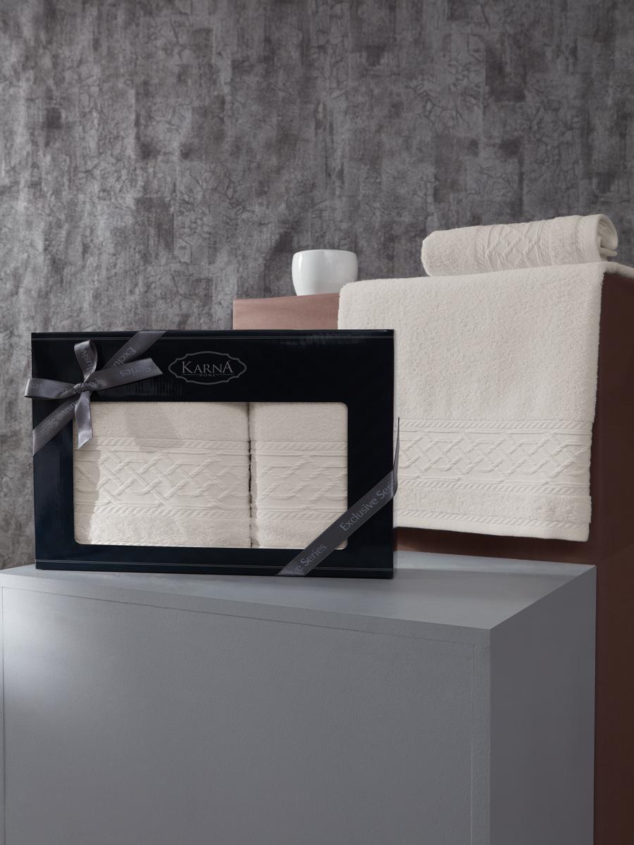 Комплект махровых полотенец Karna Gravit 50х90 + 70х140 экрю