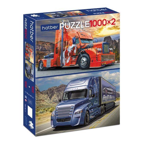 Купить Пазл Hatber Premium TRUCKS Грузовики 2 картинки в 1 коробке, 1000+1000 элементов, Пазлы