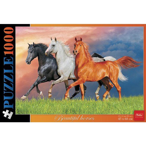Купить Пазл Hatber Красивые лошади, 1000 элементов, Пазлы