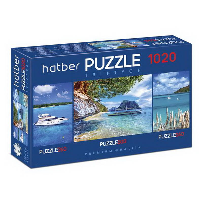 Купить Пазл-триптих Hatber Premium Яхты, 260+500+260 элементов, Пазлы