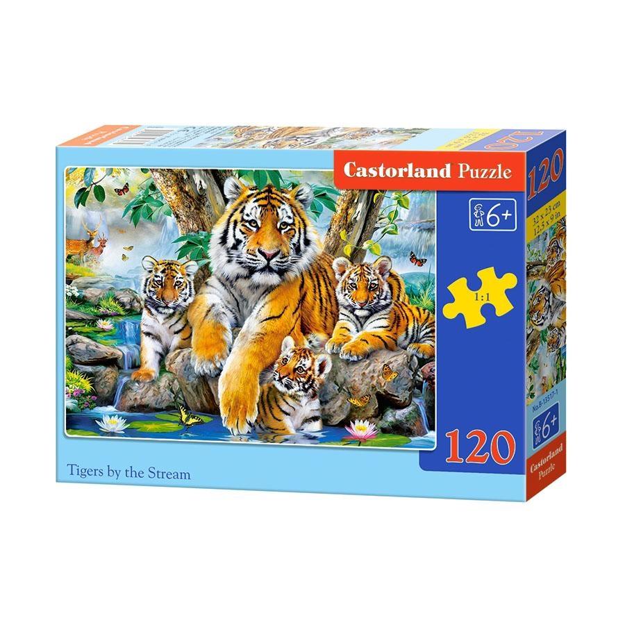 Пазл Castorland Семья тигров у ручья, 120 элементов