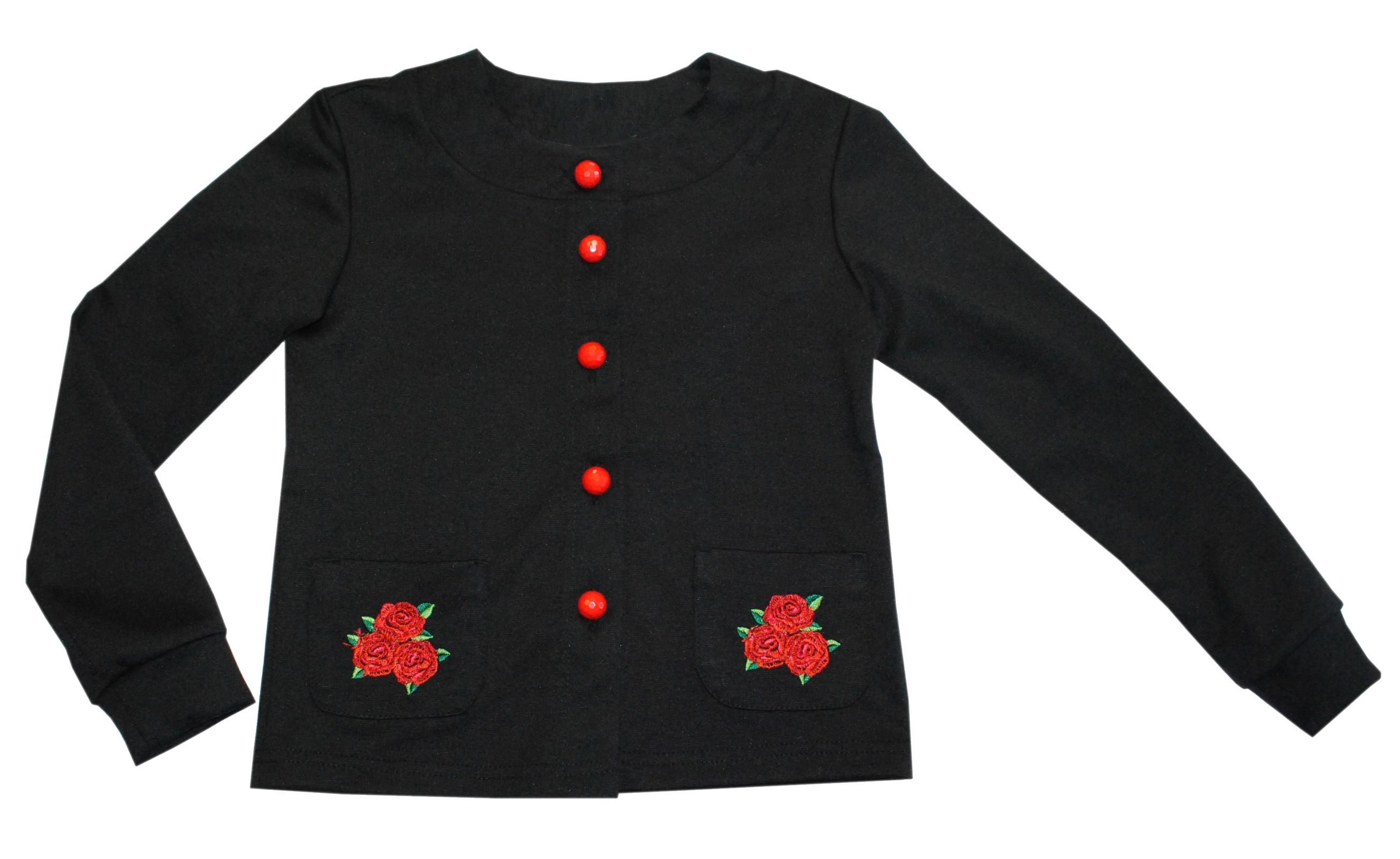 Кардиган для девочки Bon&Bon /652/28/110/ черный, вышивка