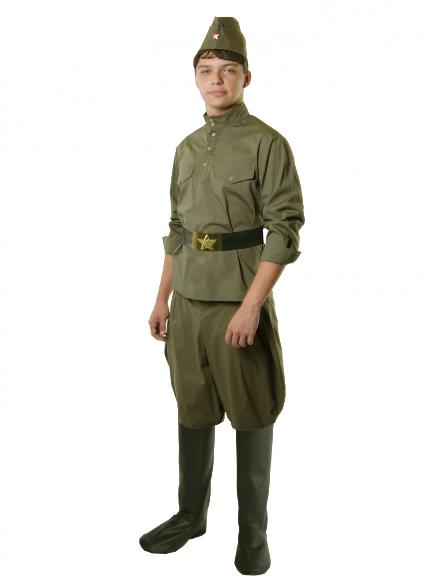 Солдат с брюками галифе на взрослого (хлопок),