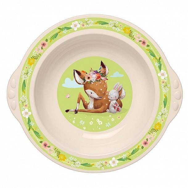 Тарелка детская глубокая Пластишка с зеленым декором,