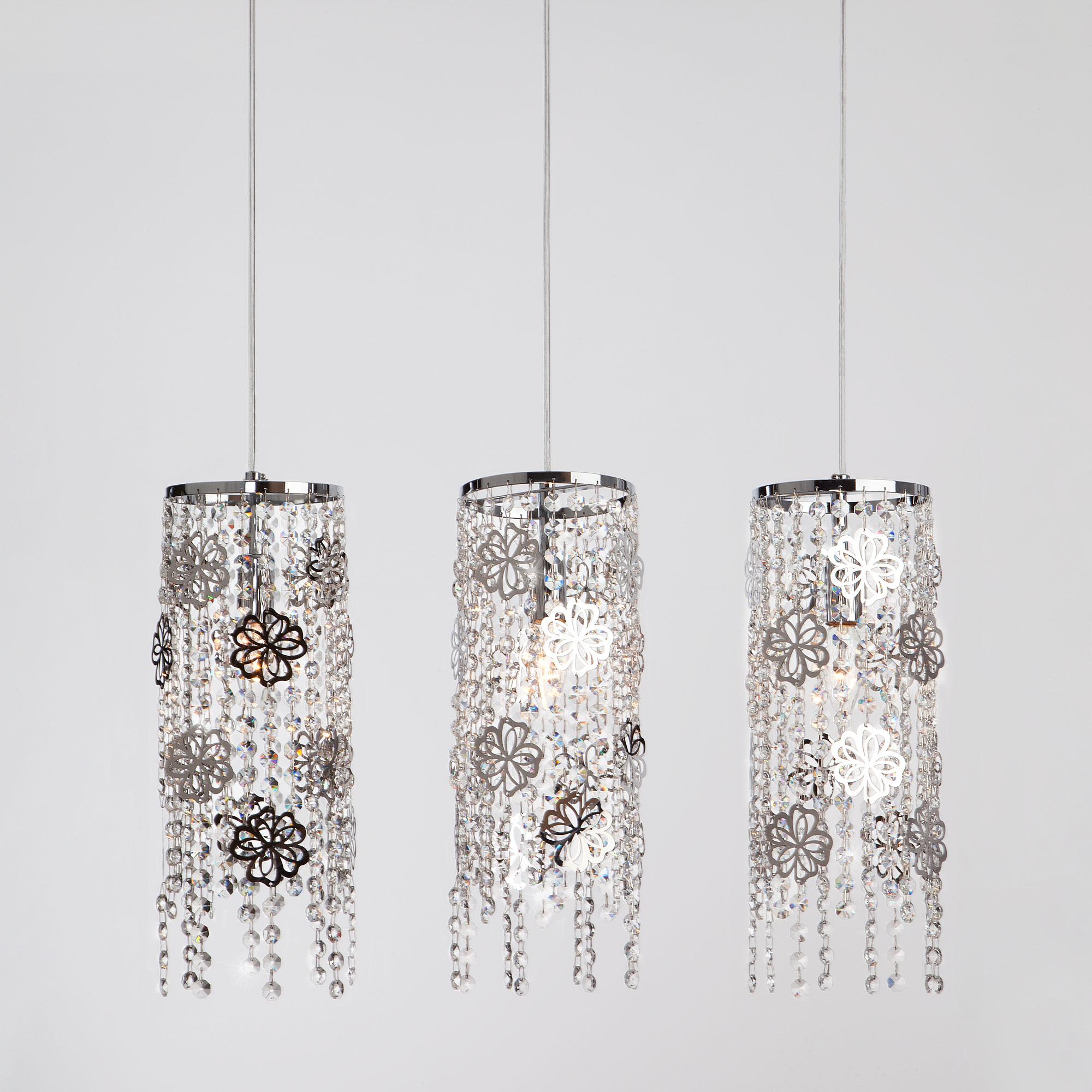 Подвесной светильник с хрусталем 10083/3 хром / прозрачный хрусталь ЕВРОСВЕТ фото