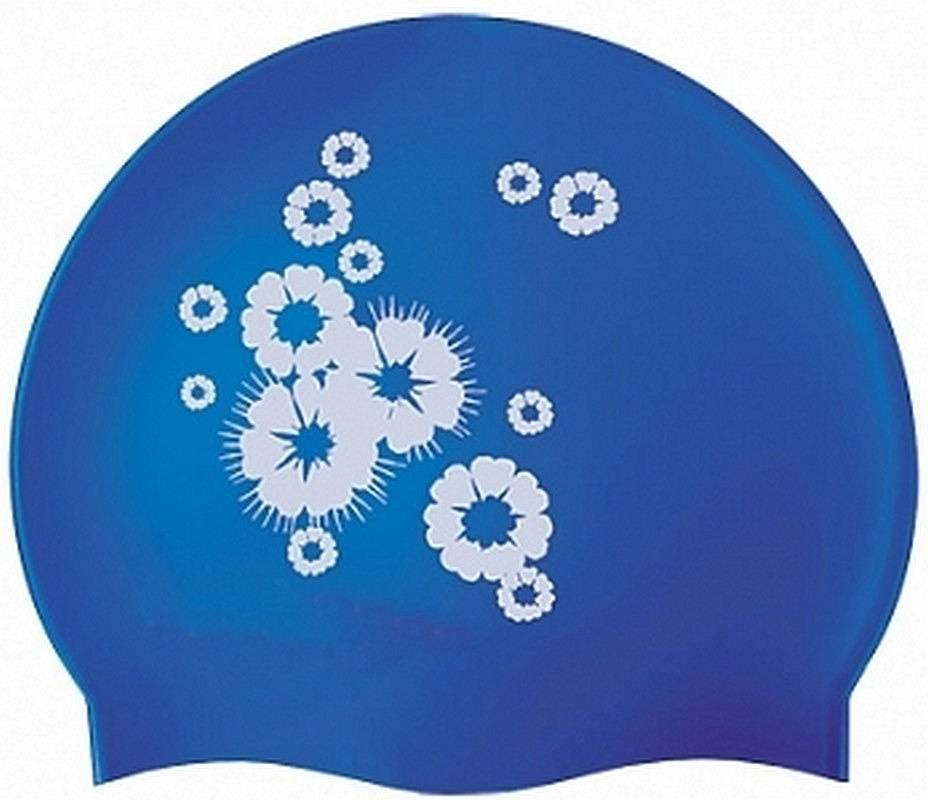 Шапочка для плавания Atemi PSC402 синяя/цветы фото