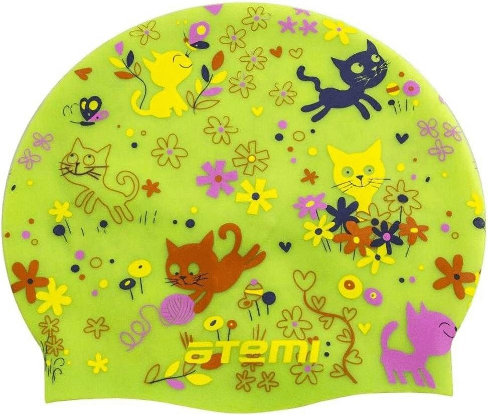 Шапочка для плавания Atemi PSC307 салатовая, котята PSC307 по цене 640