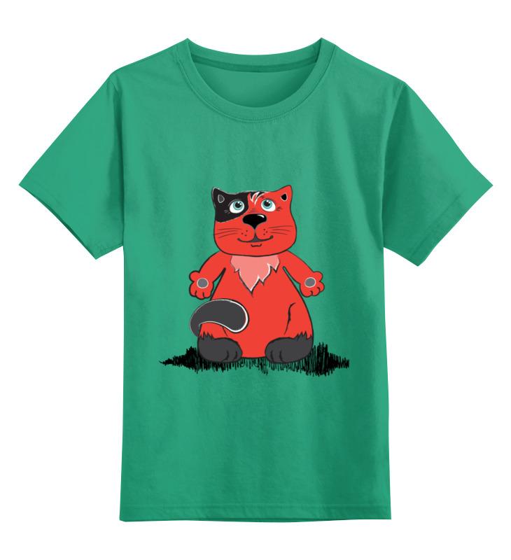 Купить 0000002612357, Детская футболка Printio Рыжий кот цв.зеленый р.104,