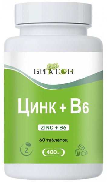 Купить Цинк + В6, Цинк В6 Биакон 400 мг таблетки 60 шт.