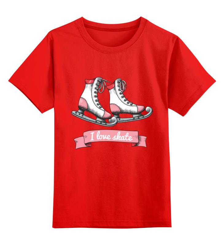 Купить 0000002659931, Детская футболка Printio Коньки цв.красный р.104,