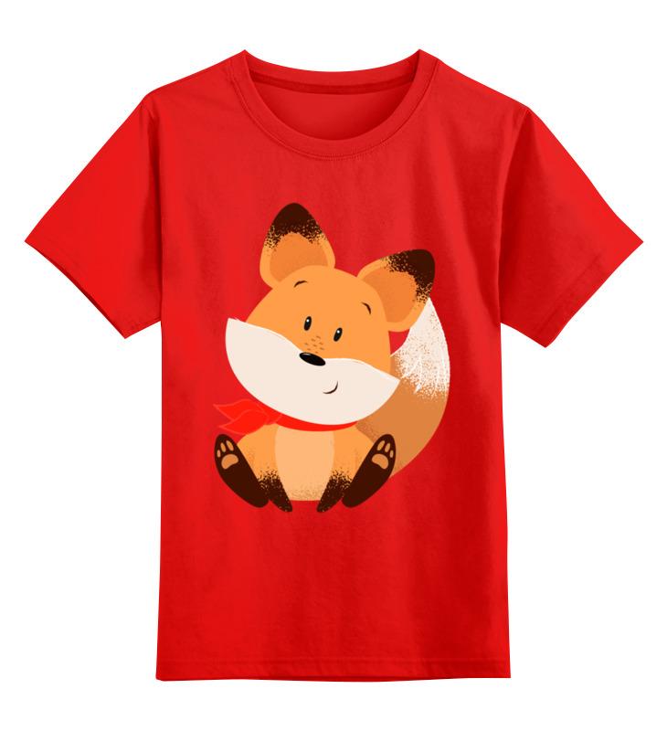 Купить 0000002684879, Детская футболка Printio Лисичка цв.красный р.104,