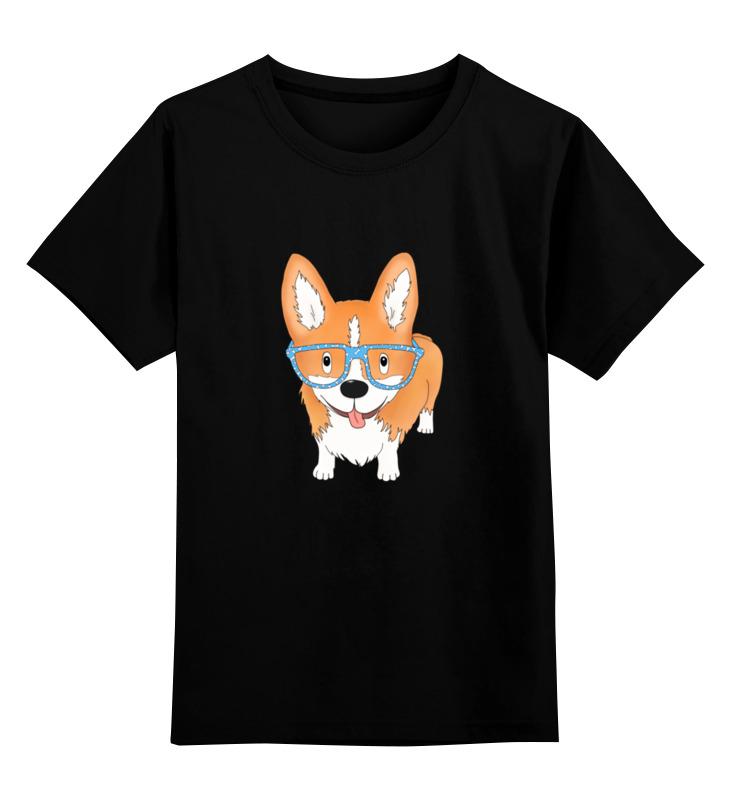 Купить 0000002721507, Детская футболка Printio Корги в очках цв.черный р.104,