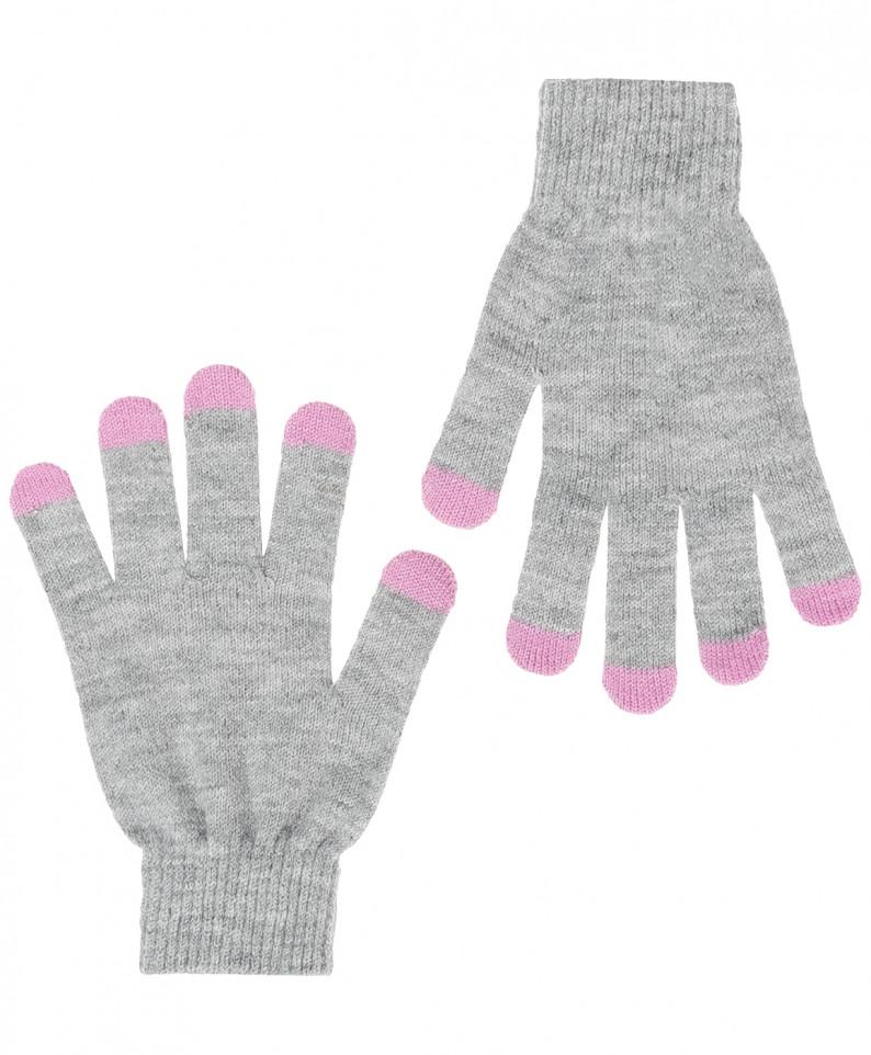 Перчатки для девочек Button Blue, цв. серый,