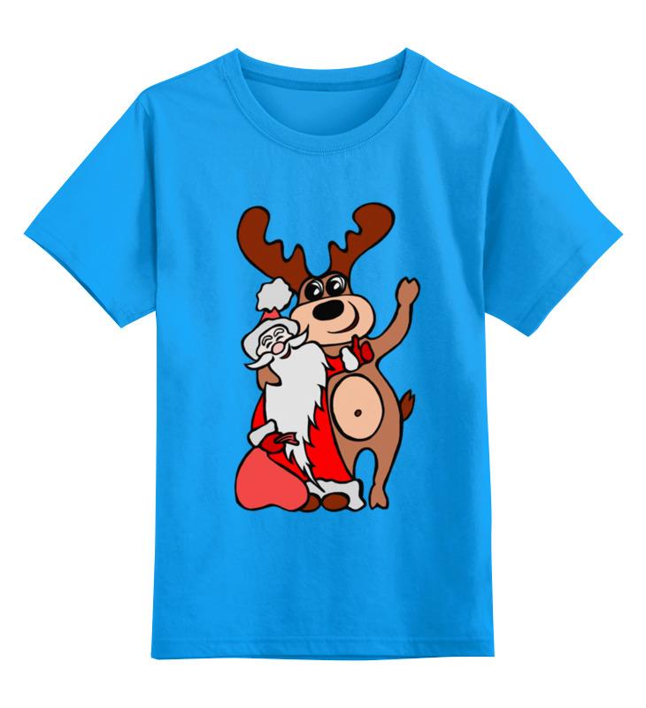 Купить 0000002614698, Детская футболка Printio Дед мороз с оленем цв.голубой р.164,