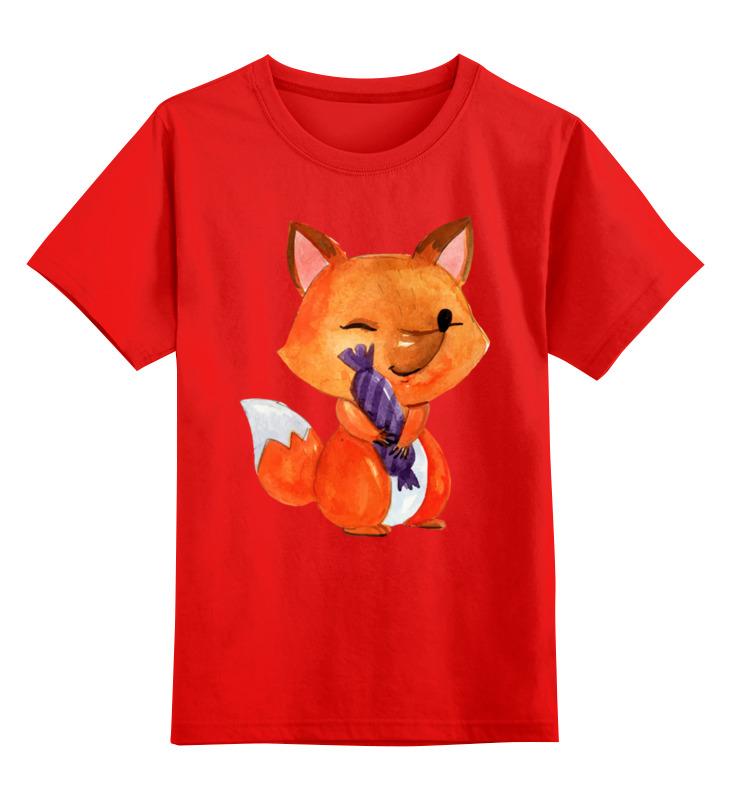 Купить 0000002621299, Детская футболка Printio Лисичка цв.красный р.164,