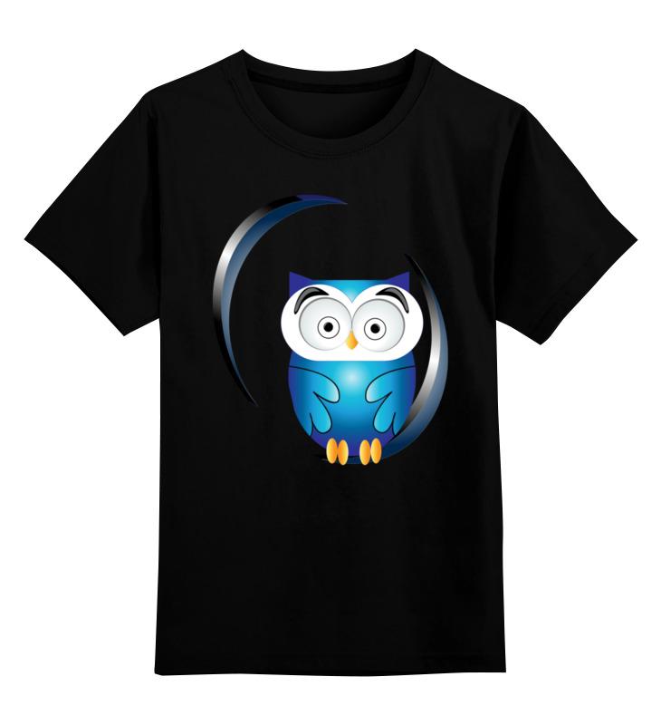 Купить 0000002631803, Детская футболка Printio Сова. цв.черный р.164,