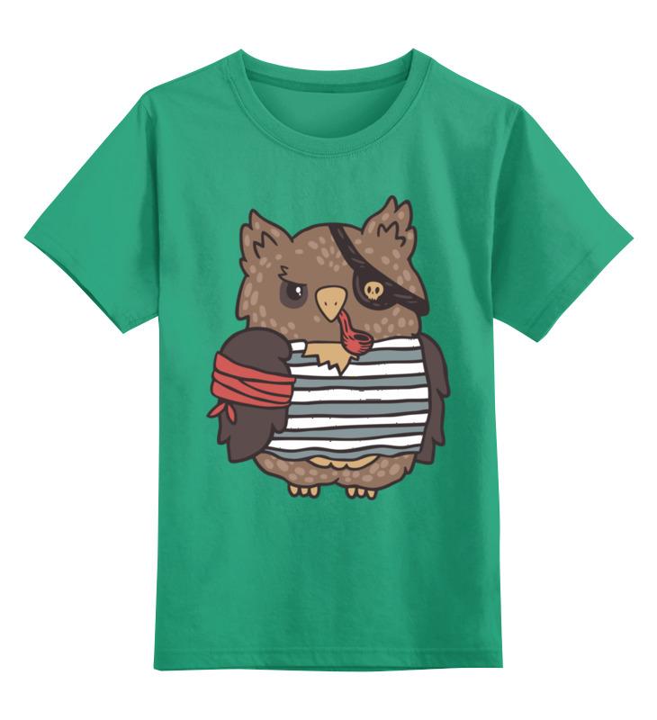 Купить 0000002709394, Детская футболка Printio Сова-пират цв.зеленый р.164,