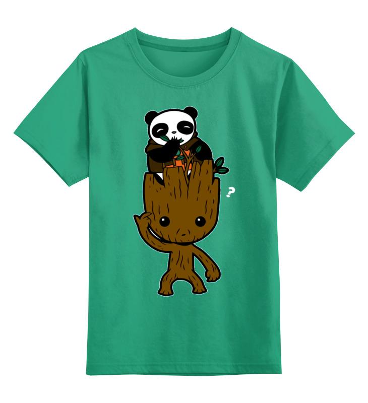 Купить 0000002717010, Детская футболка Printio Панда цв.зеленый р.104,