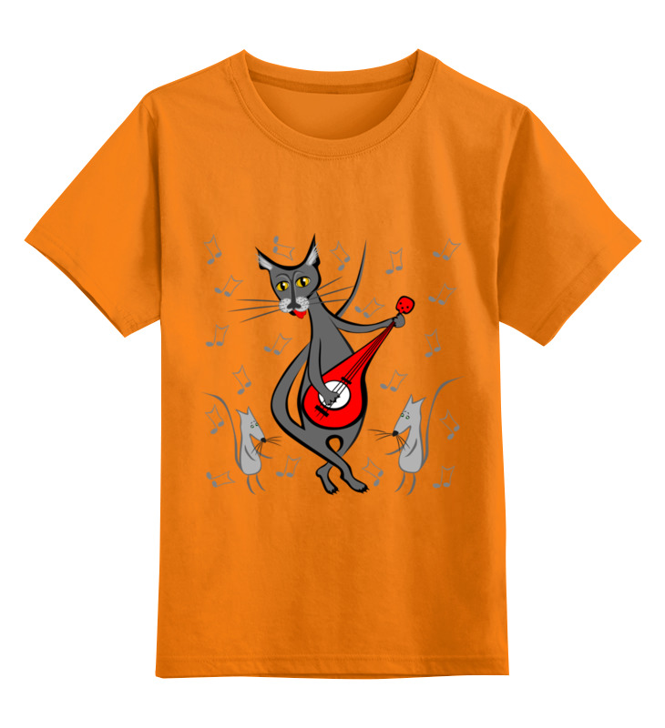 Детская футболка Printio Кот с гитарой - мышь в танце цв.оранжевый р.104 0000002738175 по цене 990