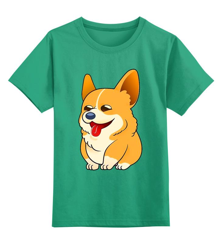 Купить 0000002754911, Детская футболка Printio Корги цв.зеленый р.104,