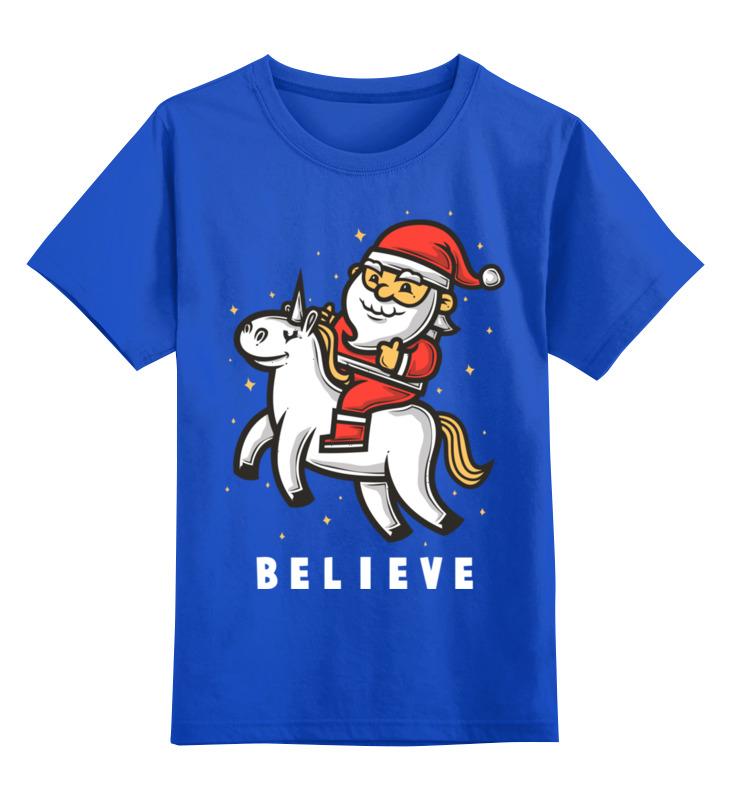 Купить 0000002588391, Детская футболка Printio Дед мороз цв.синий р.164,