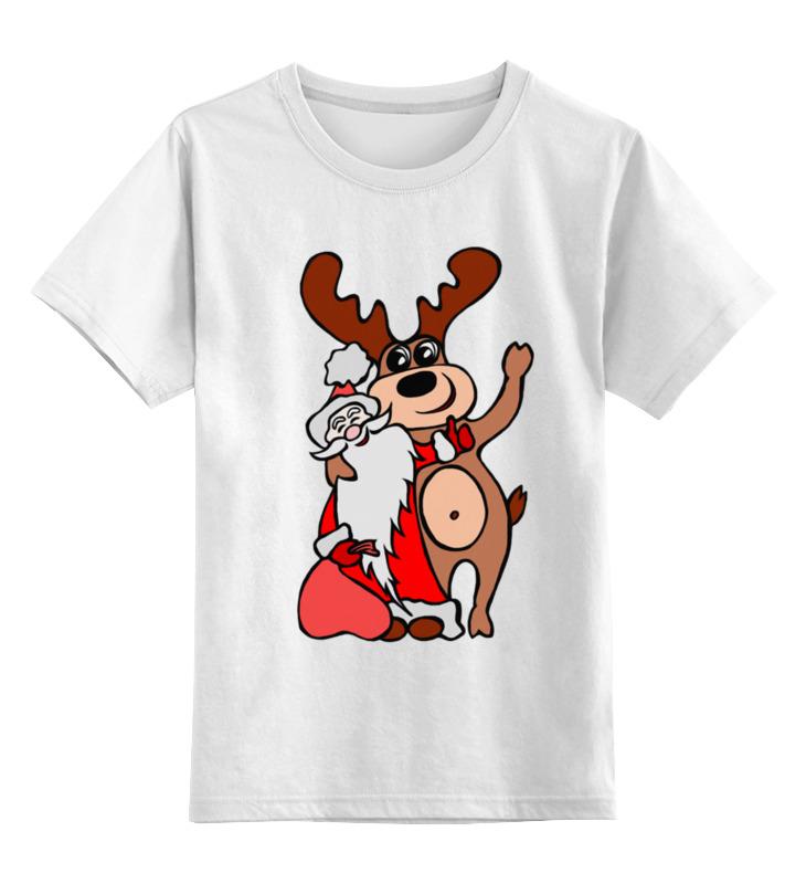 0000002614598, Детская футболка Printio Дед мороз с оленем цв.белый р.164,  - купить со скидкой
