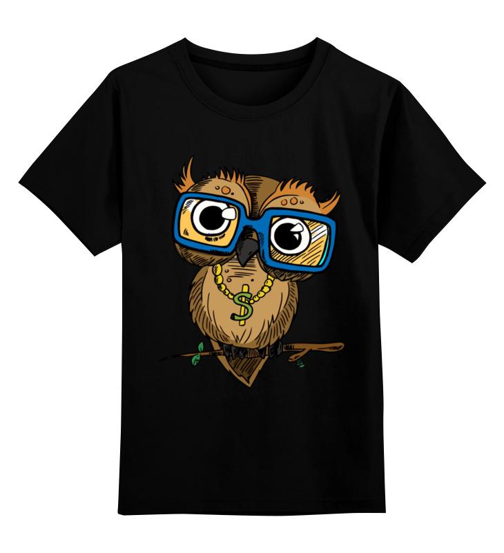Купить 0000002683935, Детская футболка Printio Сова. цв.черный р.164,