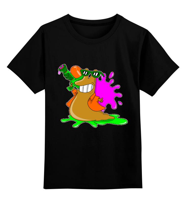 Купить 0000002709365, Детская футболка Printio Слизень цв.черный р.164,