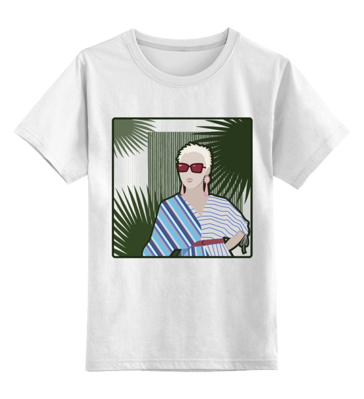 Купить 0000002795499, Детская футболка Printio Блондинка в красных солнечных очках цв.белый р.164,