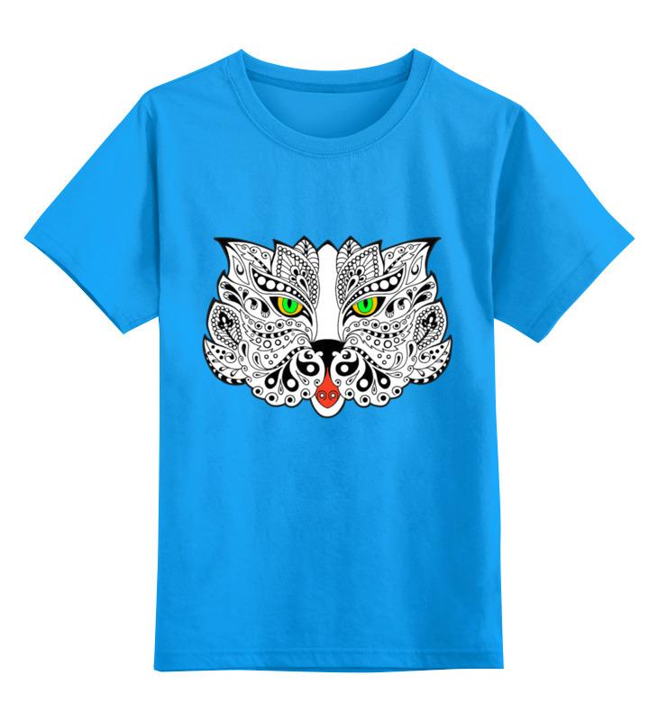 Купить 0000002851426, Детская футболка Printio Дзен-кот цв.голубой р.164,