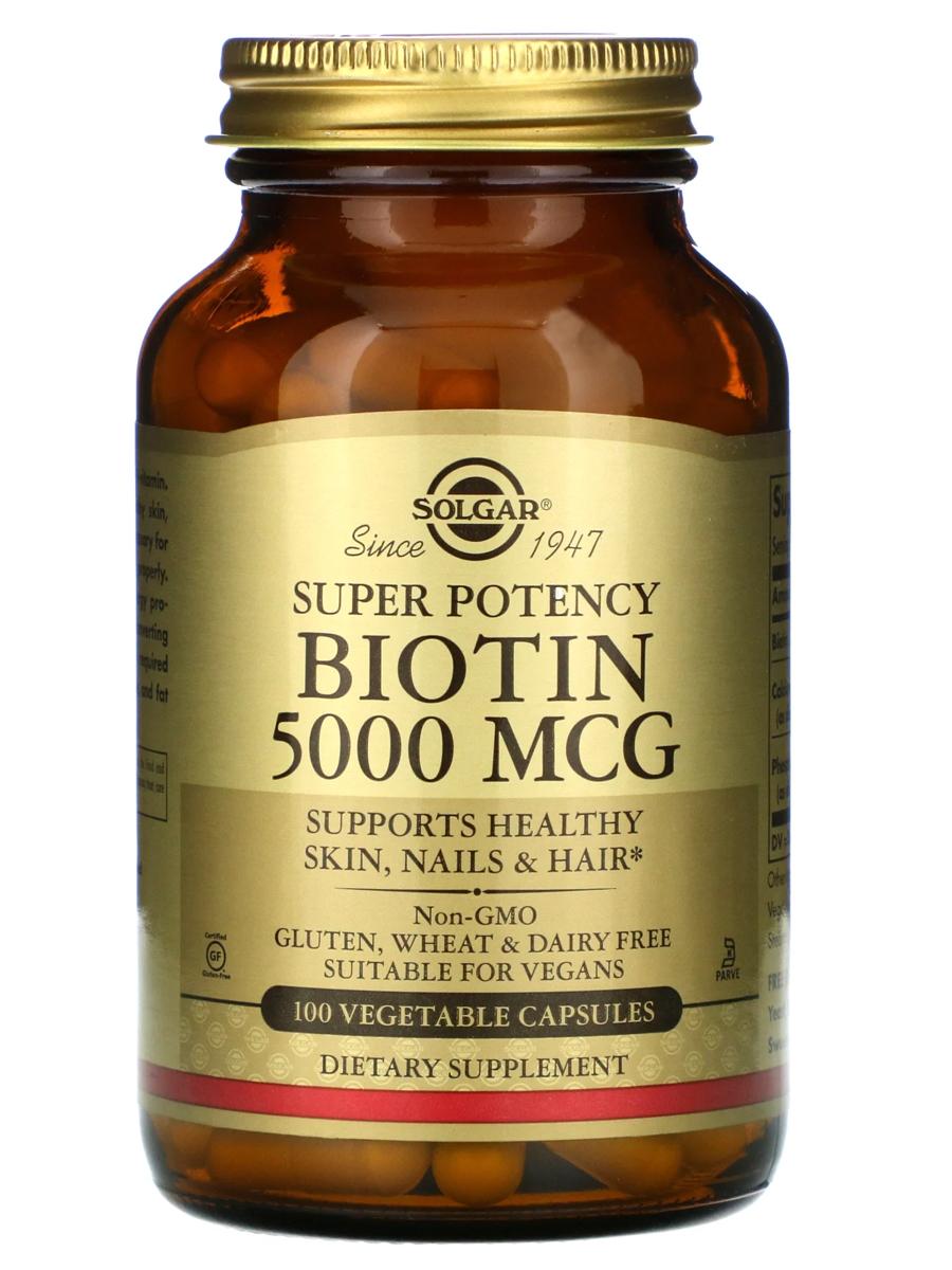 Купить Биотин 5000 мкг, Биотин Solgar 5000 мкг, 100 капсул