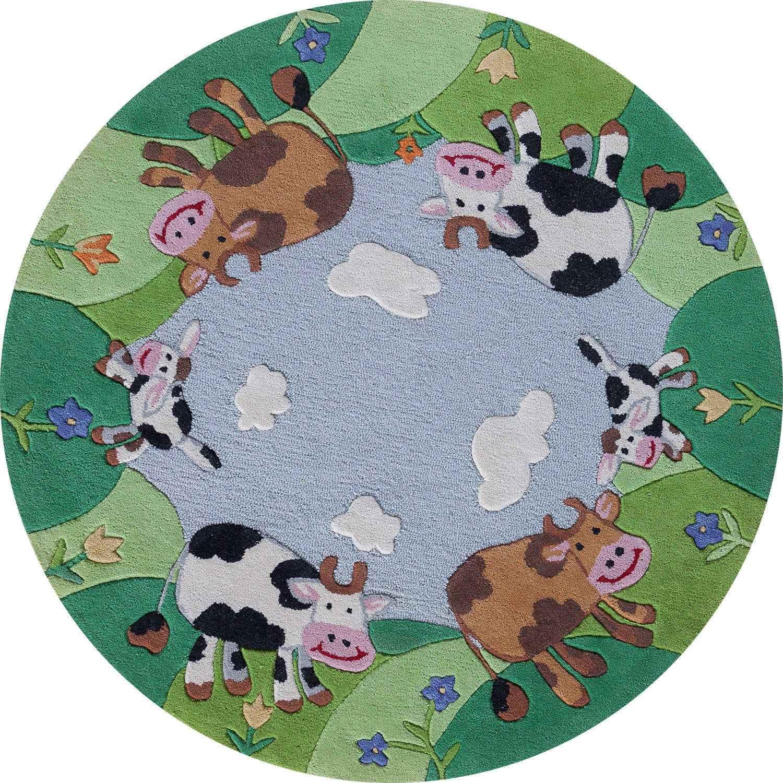 Круглый шерстяной ковер ручной набивки коллекции «Kids Collection» 36200, 190x190 см
