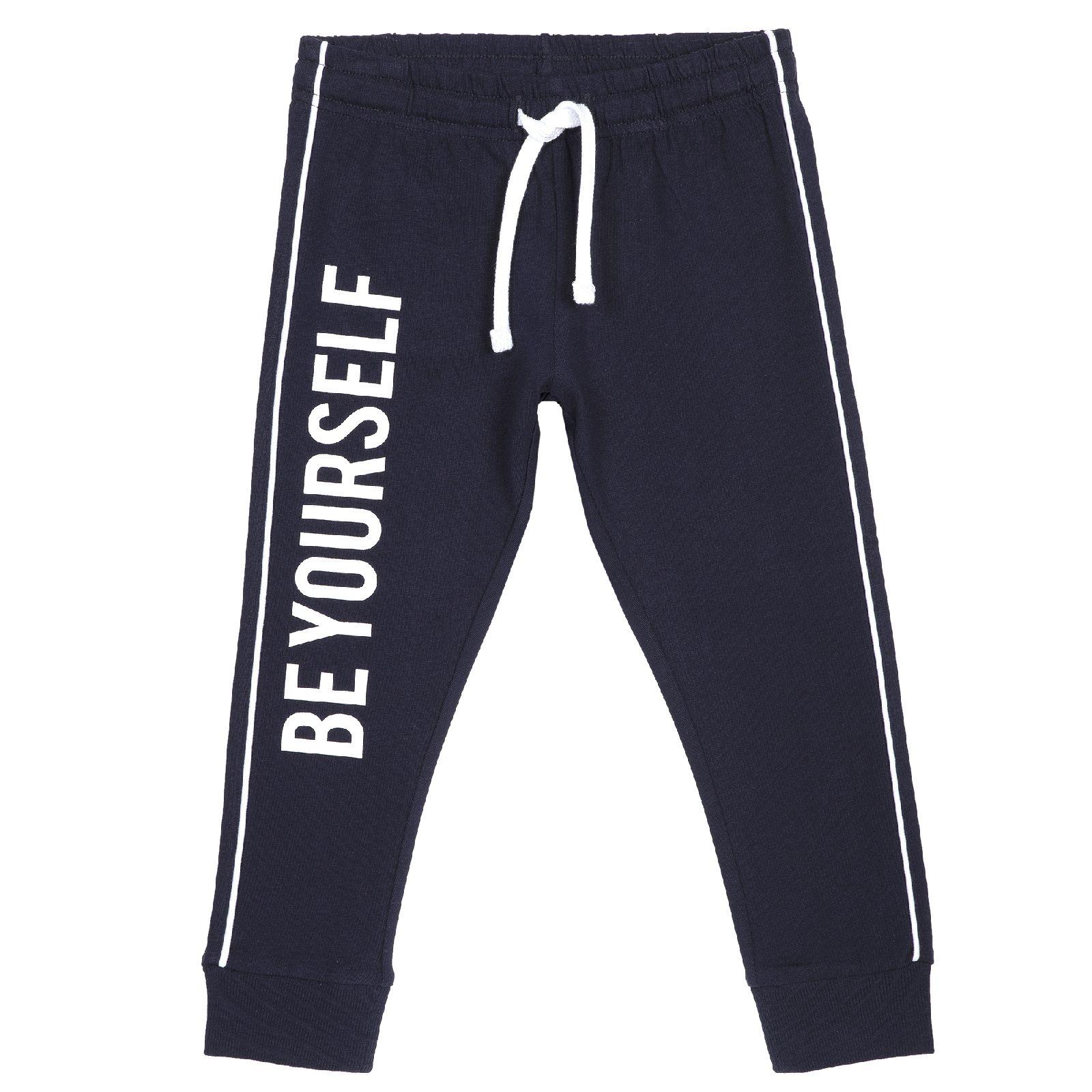 Купить 900810688, Брюки Chicco для мальчика надпись Be yоur self р.92 цвет темно-синий, Детские брюки и шорты