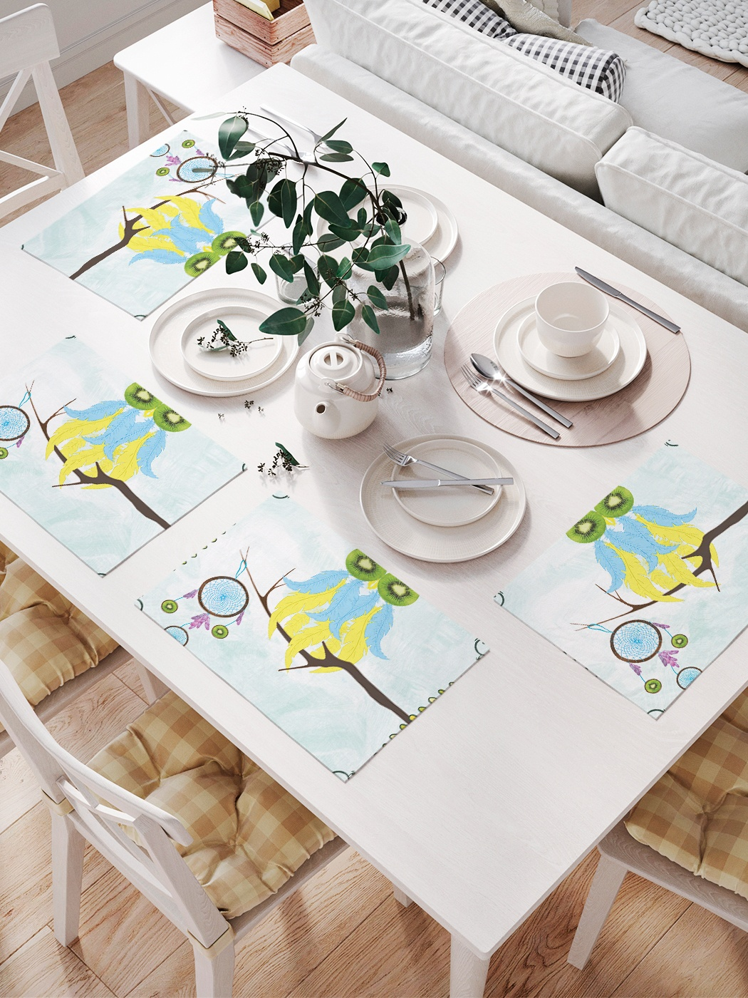 Комплект салфеток для сервировки стола «Сова и ловец снов» (32х46 см, 4 шт.)