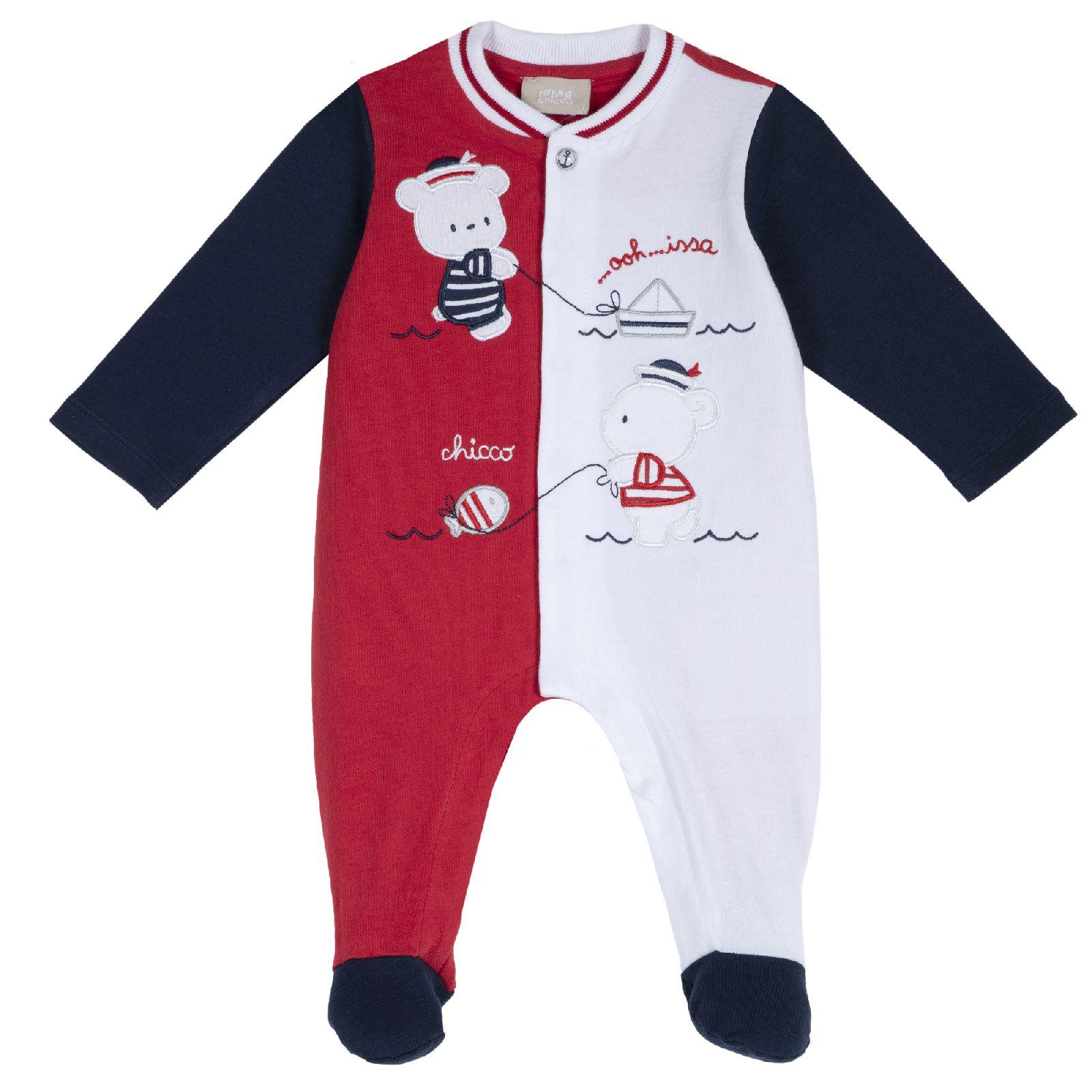 Купить 902198437, Комбинезон Chicco для мальчика с мишками р.62 цвет красный,