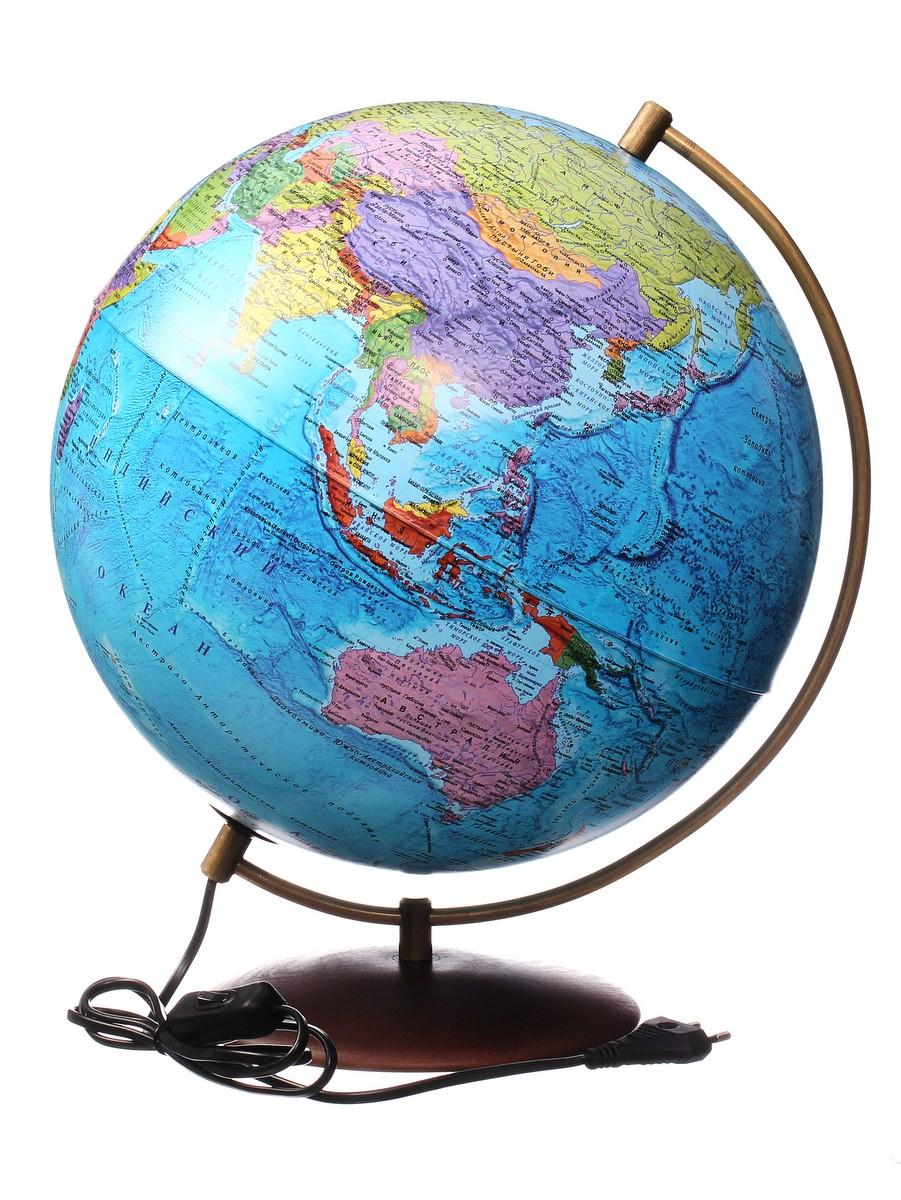 Глобус Globen на подставке из натурального дерева политический с подсветкой, d320