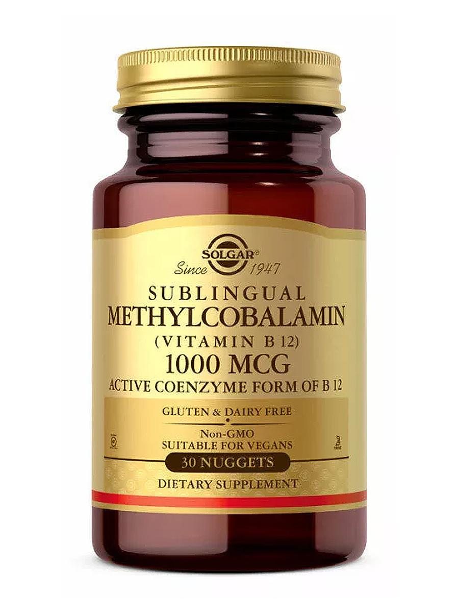 Купить Метилкобаламин 1000 мкг, Метилкобаламин (витамин B12) Solgar 1000 мкг, 30 таблеток