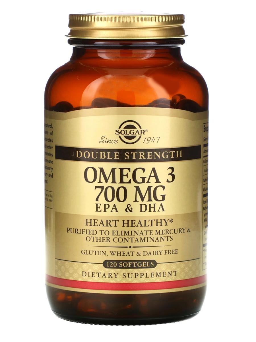 Купить Омега-3, ЭПК и ДГК, двойной концентрации Solgar 700 мг, 120 капсул