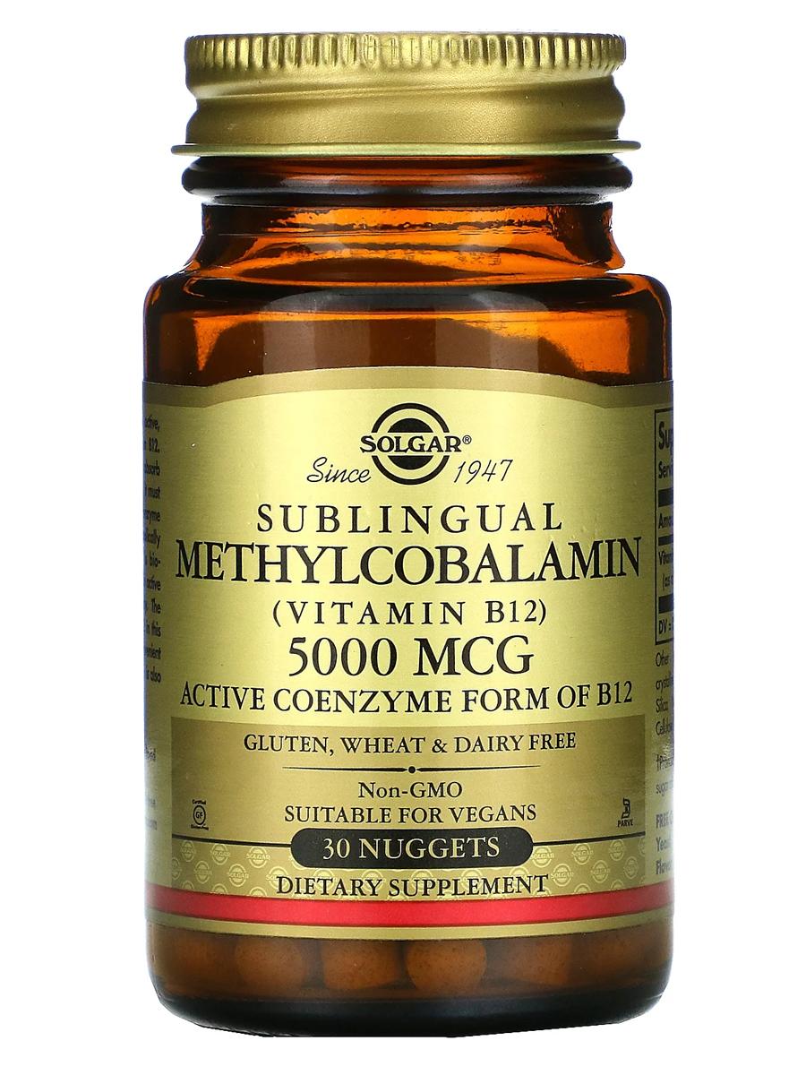 Купить Метилкобаламин 5000 мкг, Метилкобаламин (витамин B12) Solgar 5000 мкг, 30 таблеток